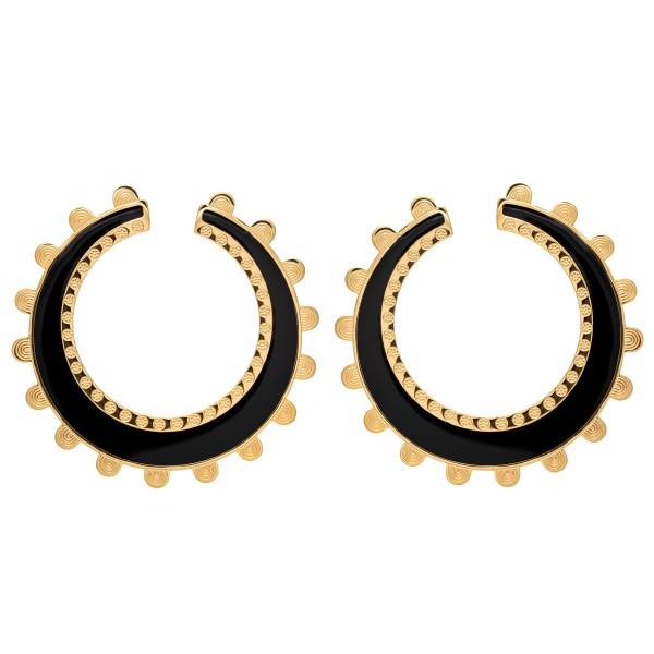 Black wheel earring