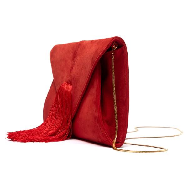 Red tassel clutch