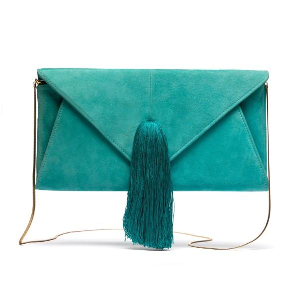Turquoise tassel clutch