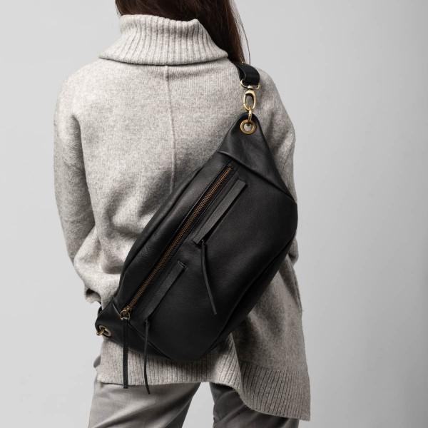 Unisex black L bum bag