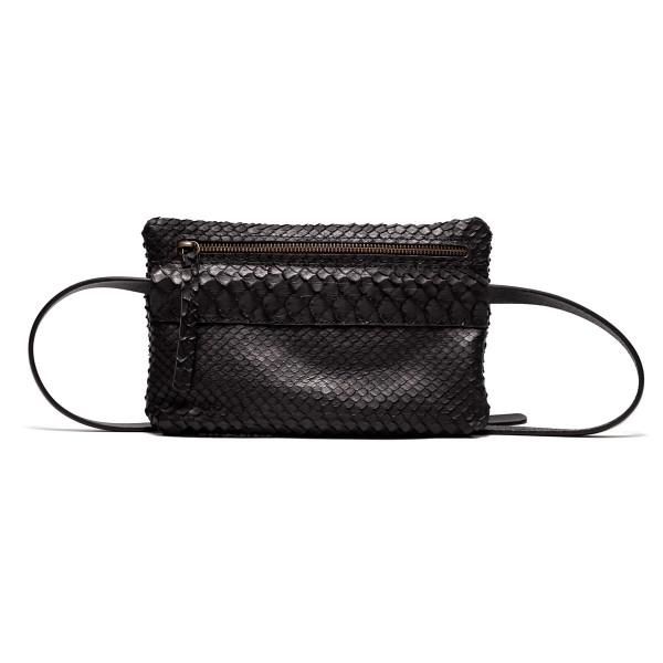 (Presale) Black python bum bag