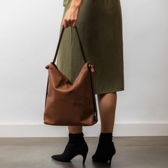 Brown convertible backpack