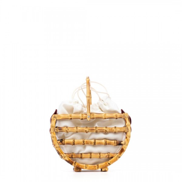 Red bamboo basket